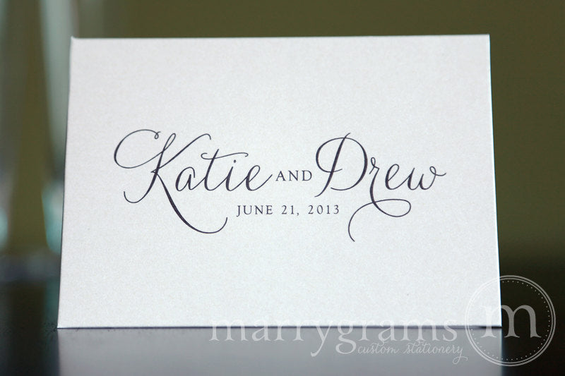 Custom Name & Date Wedding Thank You Card Thin Style