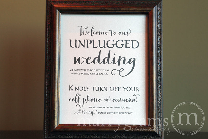 Welcome to Our Unplugged Wedding Sign Thick Style