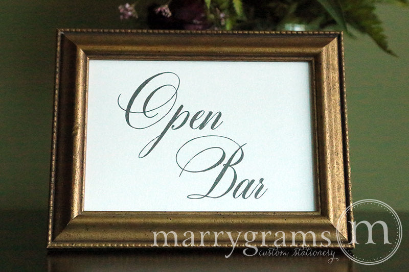 Open Bar Wedding Reception Sign Calligraphy Style