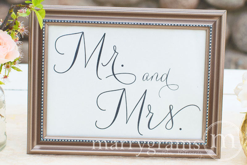 Mr. and Mrs. Sweetheart Table Sign Thin Style