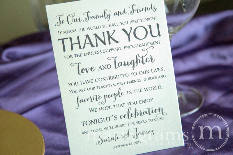 Custom Reception Thank You Card Thick Style