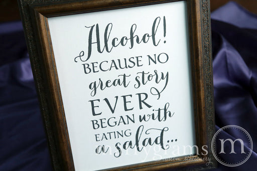 Alcohol Wedding Bar Sign Thick Style
