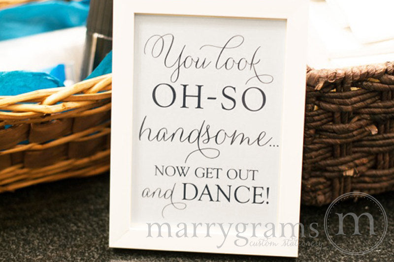 Oh-So Handsome Men's Restroom Wedding Sign Thin Style