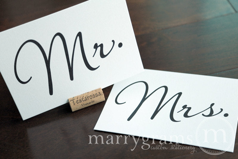 Mr. and Mrs. Wedding Reception Signs Diagonal Style