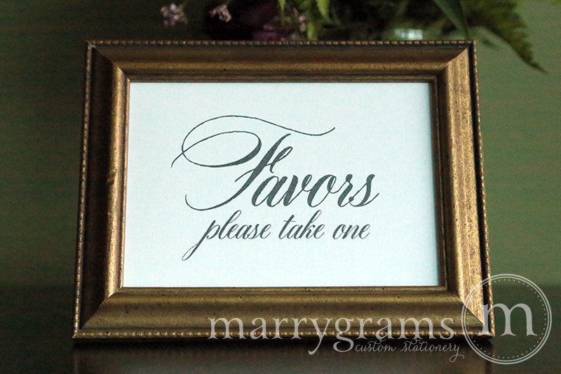 Wedding Favors Sign Calligraphy Style