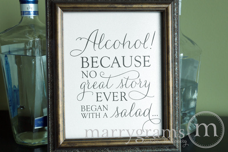 Alcohol Wedding Open Bar Sign Thin Style Classic
