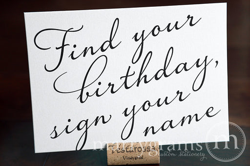 Find Your Birthday Calendar Guest Book Sign Diagonal Style