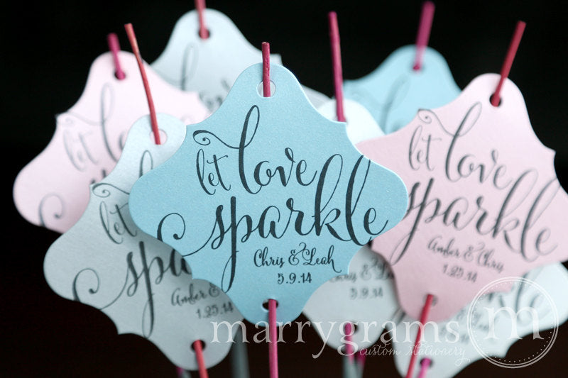 Let Love Sparkle Wedding Sparkler Tags Whimsical Style