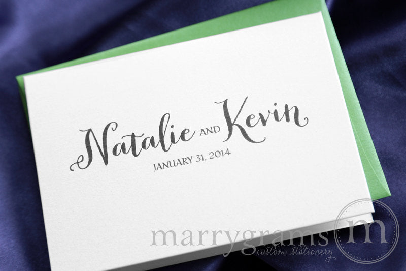 Custom Name & Date Wedding Thank You Card Thick Style