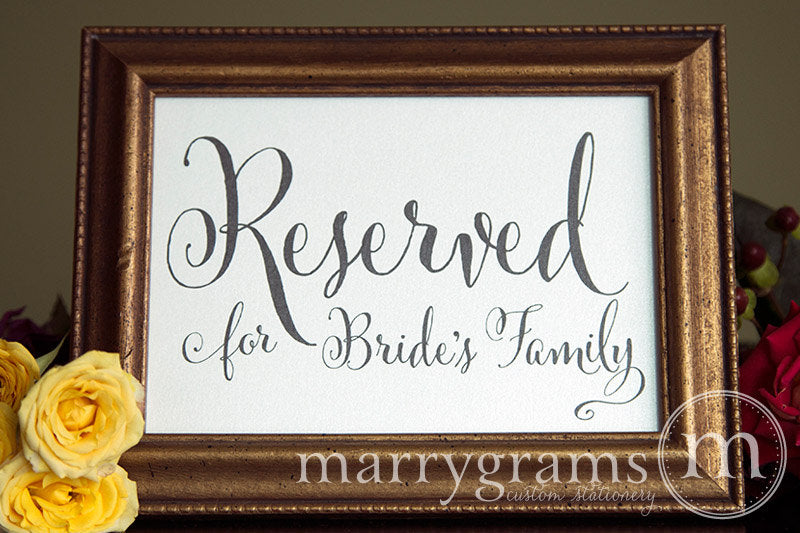 Reserved for Bride's and Groom's Family Signs Whimsical Style
