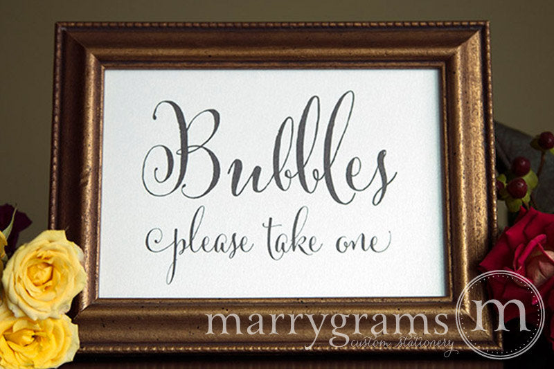 Wedding Bubbles Send Off Sign Whimsical Style