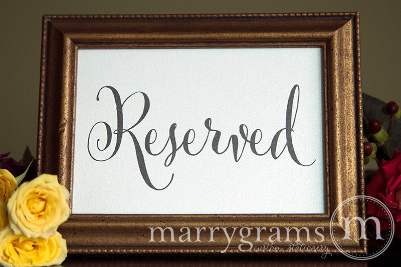 Reserved Wedding Table Seating Sign Whimsical Style