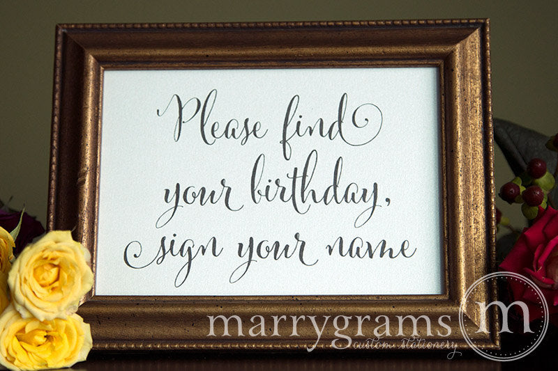 Find Your Birthday Calendar Guest Book Sign Whimsical Style