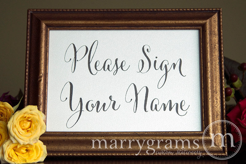 Please Sign Your Name Wedding Sign Whimsical Style
