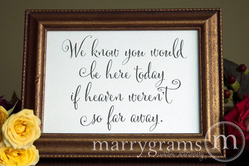 You Would Be Here Today Wedding Memorial Sign Whimsical Style