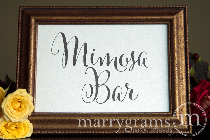 Mimosa Bar Wedding Drinks Sign Whimsical Style
