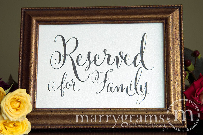 Reserved for Family Wedding Sign Whimsical Style