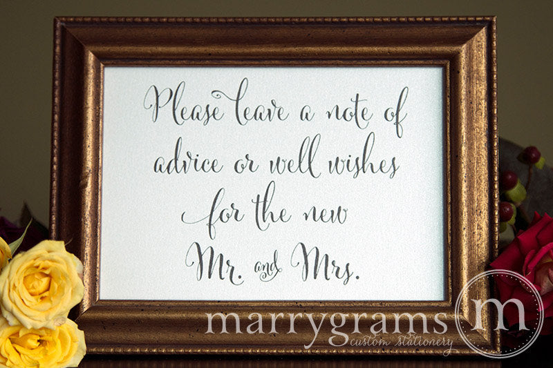 Leave a Note of Advice & Well Wishes Sign Whimsical Style