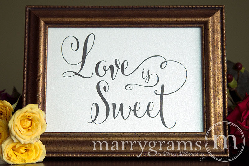 Love is Sweet Wedding Candy Dessert Sign Whimsical Style