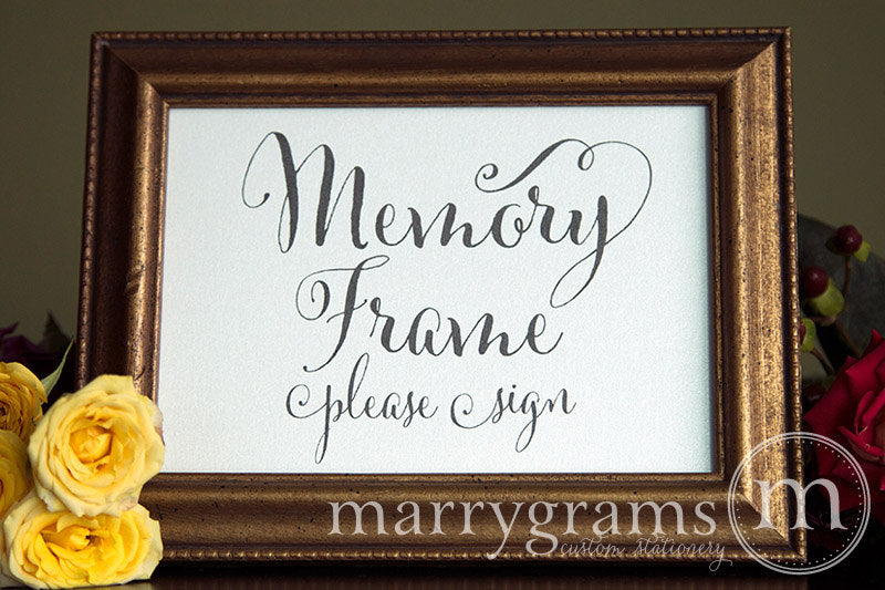 Memory Frame Wedding Guest Book Table Sign Whimsical Style