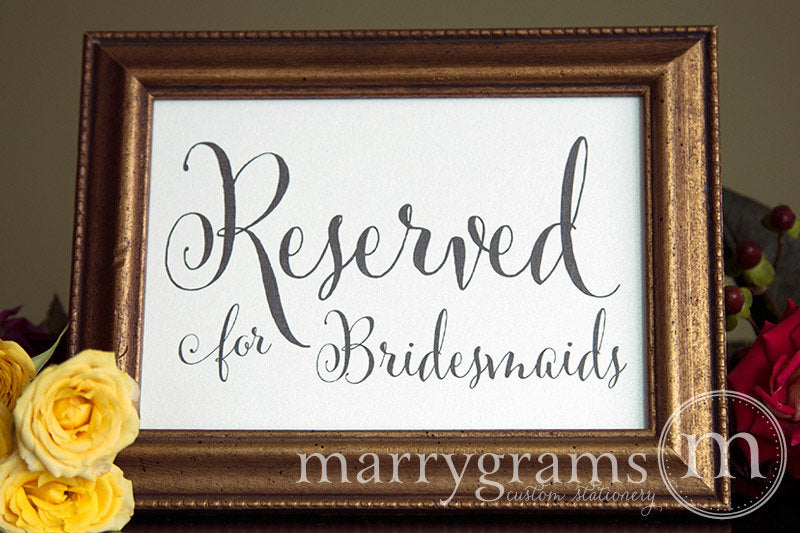 Reserved for Bridesmaids and Groomsmen Signs Whimsical Style