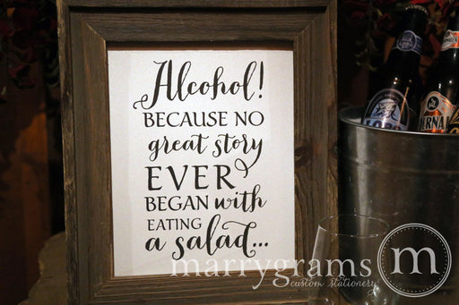 Alcohol Open Bar Wedding Sign Rustic Style