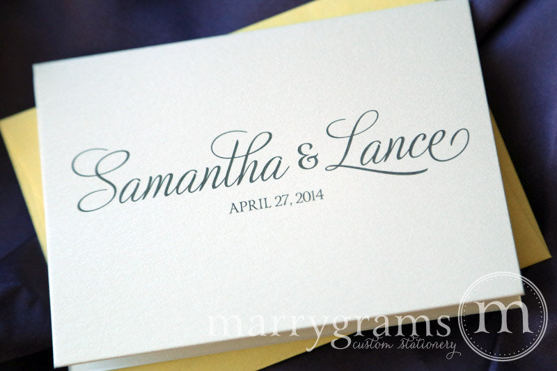 Custom Name & Date Wedding Thank You Card