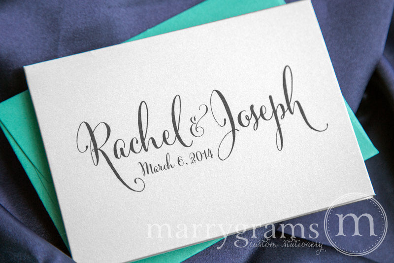 Custom Name & Date Wedding Thank You Card Whimsical Style