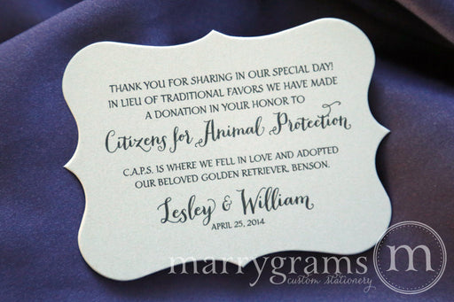 In Lieu of Traditional Favors Horizontal Donation Card Thick Style