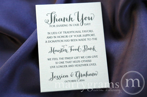 In Lieu of Traditional Favors Vertical Donation Card Thick Style