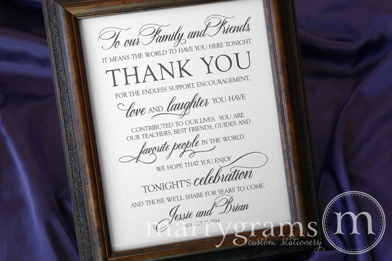 To Our Family and Friends Custom Thank You Sign Calligraphy Style