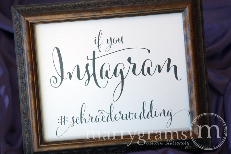 Instagram Hashtag Custom Wedding Sign Whimsical Style