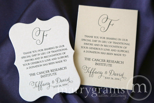 In Lieu of Traditional Favors Vertical Donation Card Thin Style