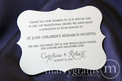 In Lieu of Traditional Favors Horizontal Donation Card Thin Style