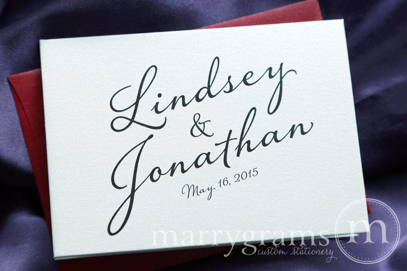 Custom Name & Date Wedding Thank You Card Diagonal Style