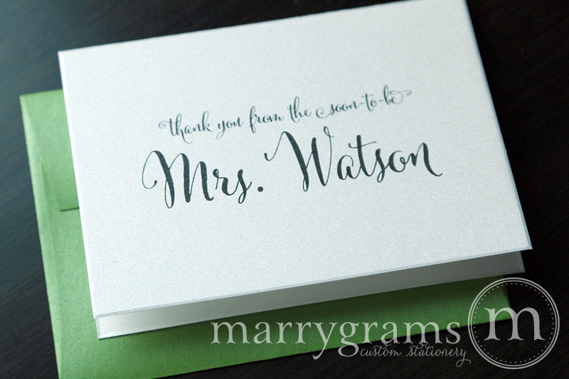 Thank You From The Soon-To-Be Mrs. Custom Card Whimsical Style