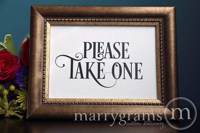 Please Take One Wedding Sign Enchanting Style