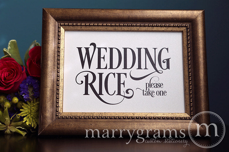 Wedding Rice Send Off Sign Enchanting Style