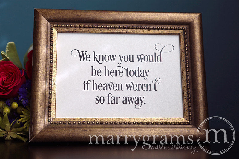 You Would Be Here Today Wedding Memorial Sign Enchanting Style