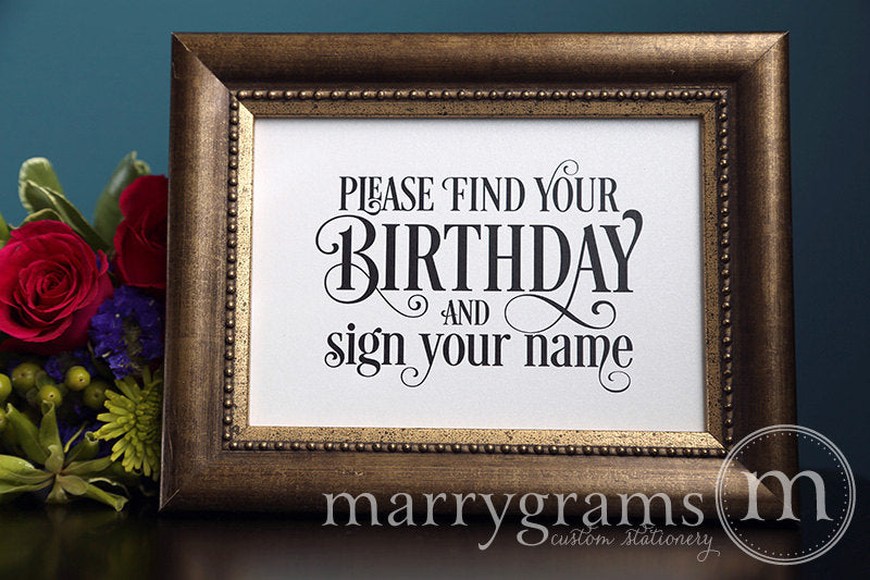 Find Your Birthday Calendar Guest Book Sign Enchanting Style
