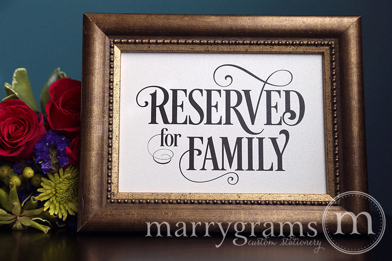 Reserved for Family Wedding Sign Enchanting Style