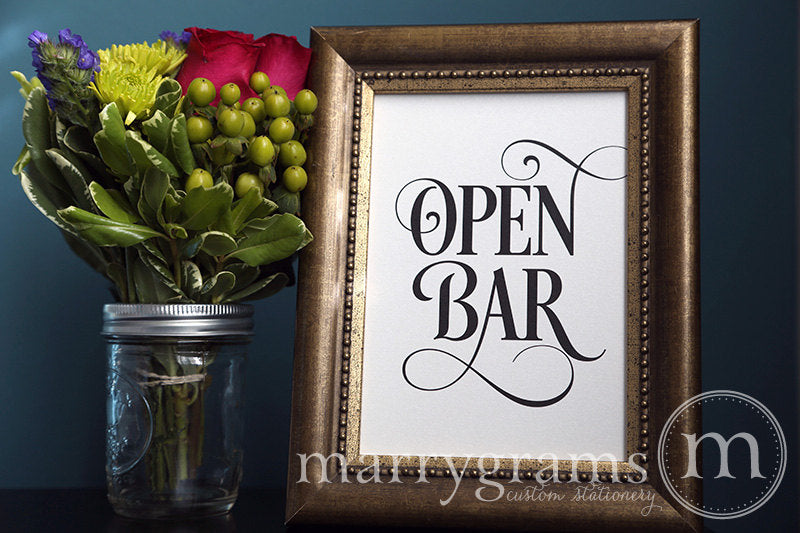 Open Bar Wedding Reception Sign Enchanting Style