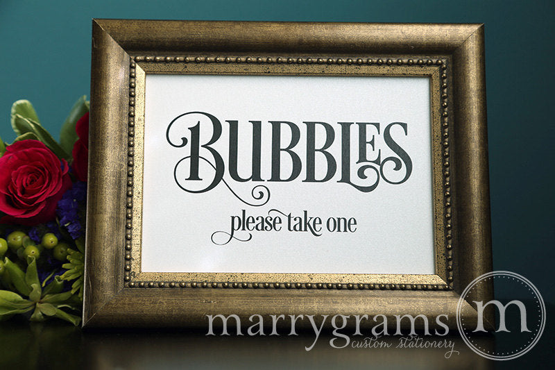 Wedding Bubbles Send Off Sign Enchanting Style