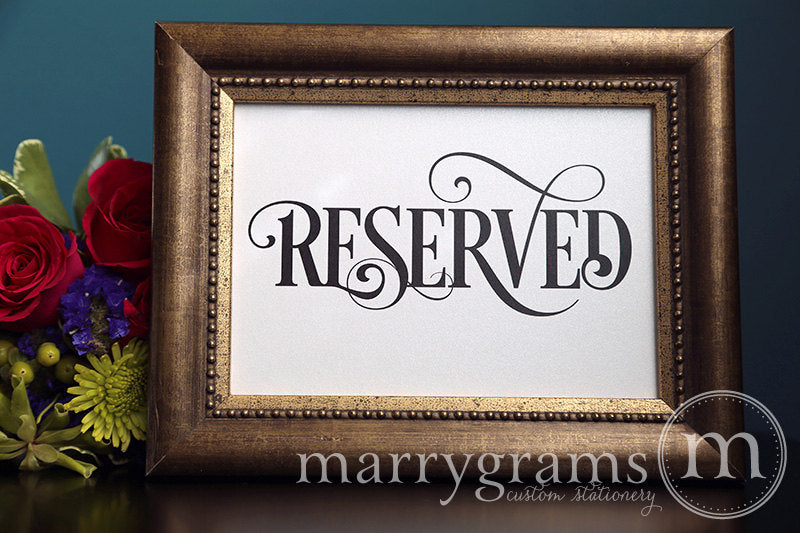 Reserved Wedding Table Seating Sign Enchanting Style