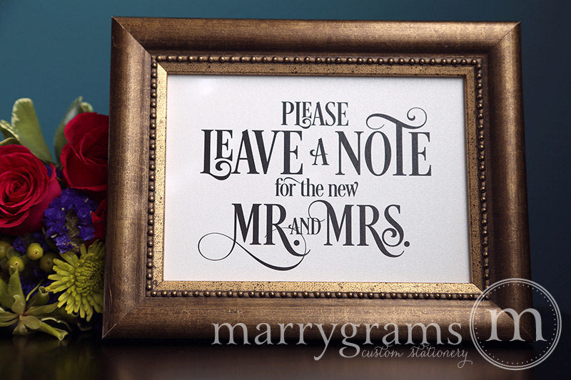 Leave a Note for the New Mr. And Mrs. Sign Enchanting Style