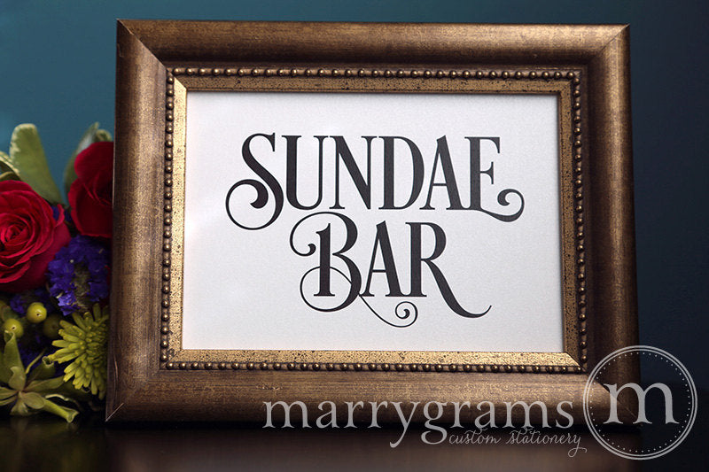 Sundae Bar Wedding Ice Cream Station Sign Enchanting Style