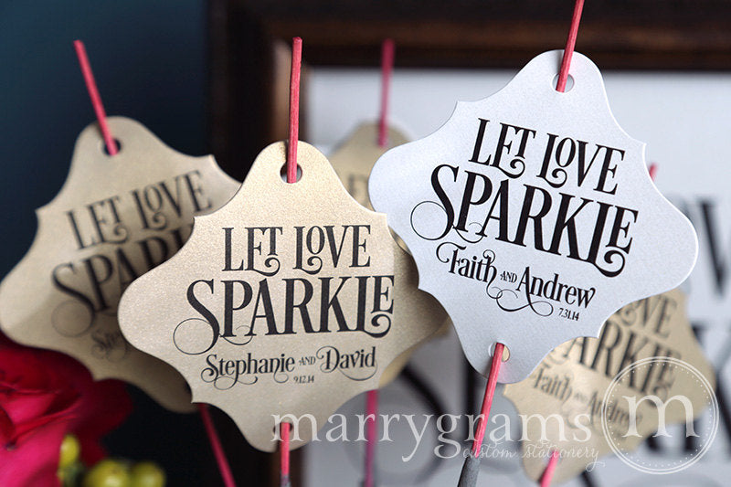 Let Love Sparkle Wedding Sparkler Tags Enchanting Style