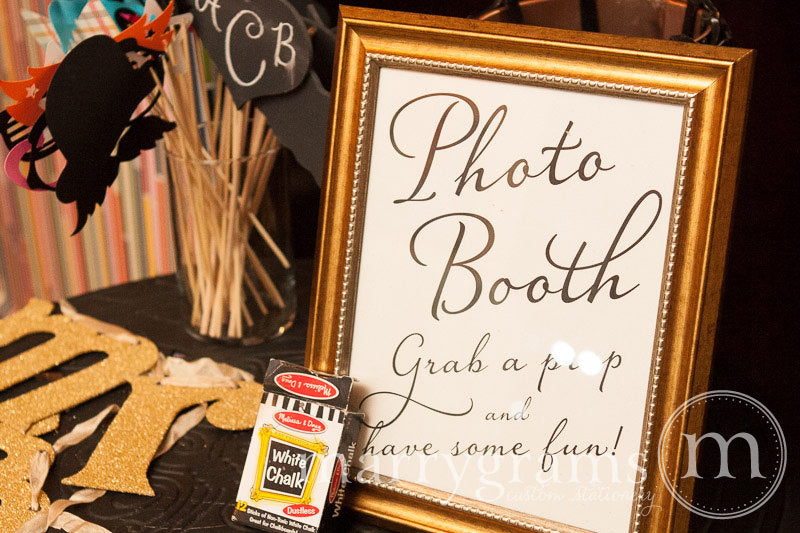 Photo Booth Wedding Reception Sign Diagonal Style