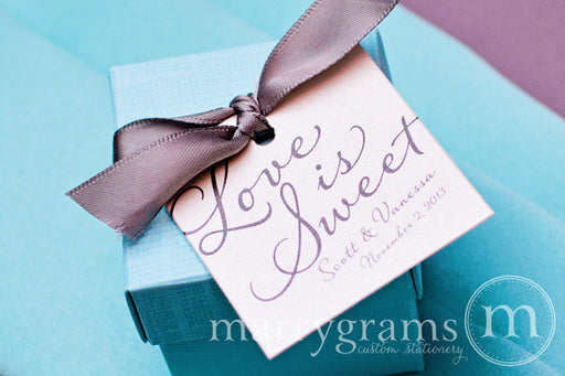 Love is Sweet Custom Wedding Favor Tag Diagonal Style
