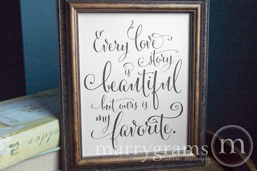 Every Love Story is Beautiful Wedding Sign Whimsical Style